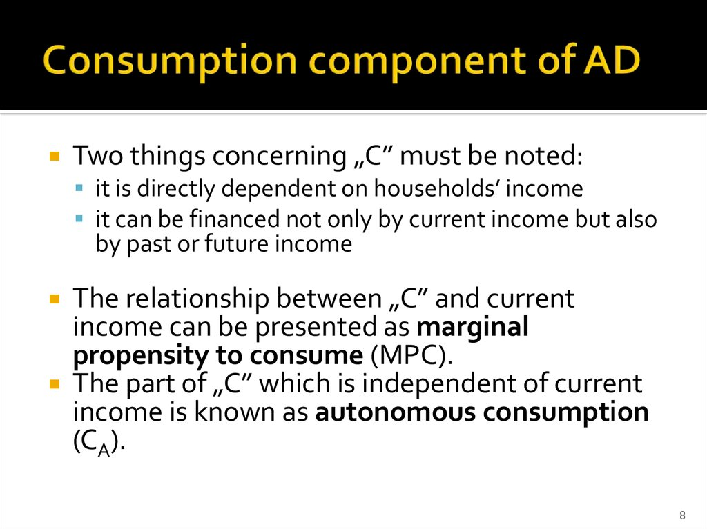 Consumption component of AD