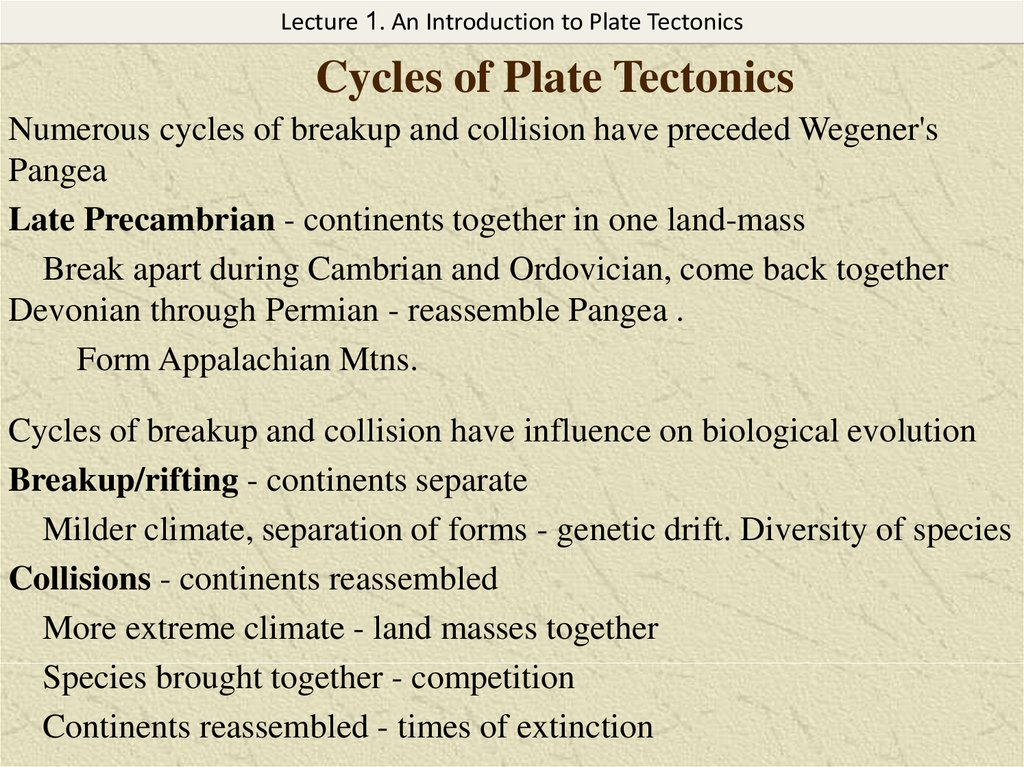 Cycles of Plate Tectonics