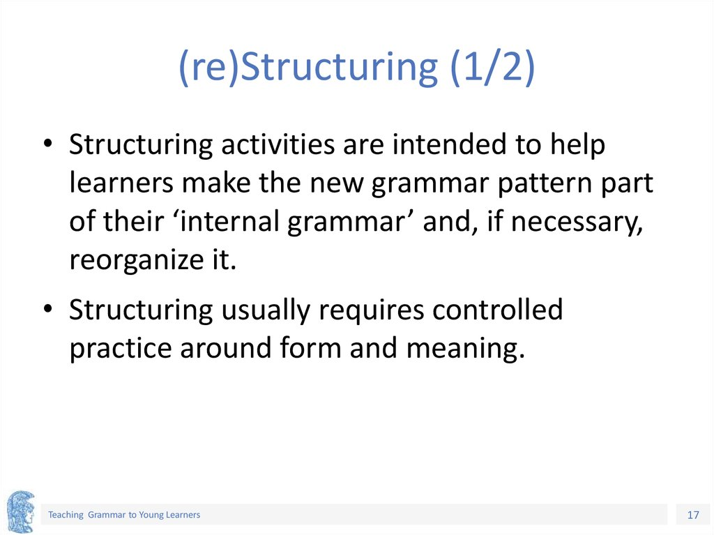 (re)Structuring (1/2)