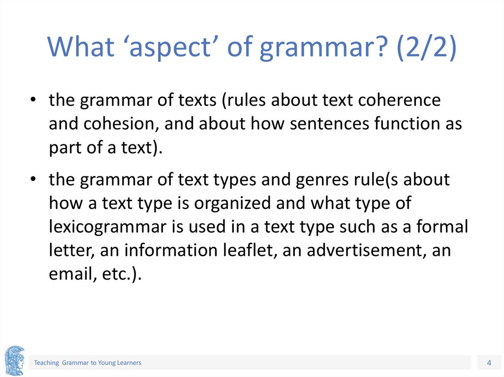 What 'aspect' of grammar? (2/2)