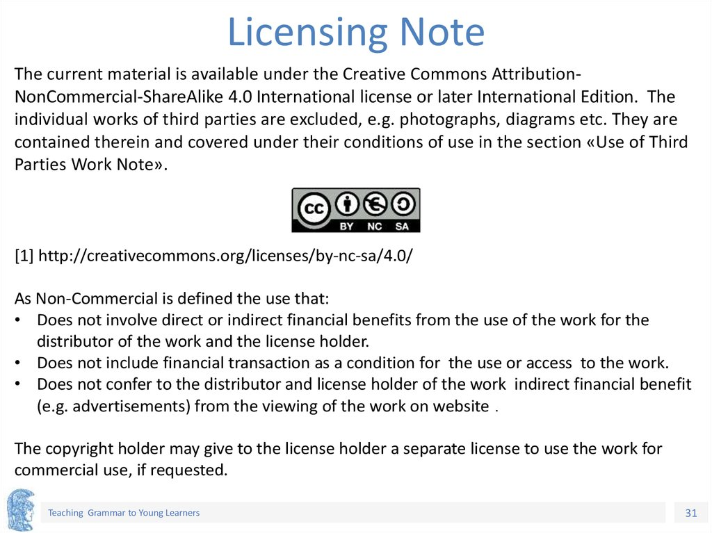 Licensing Note