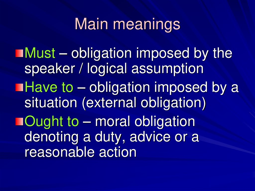 Main meanings