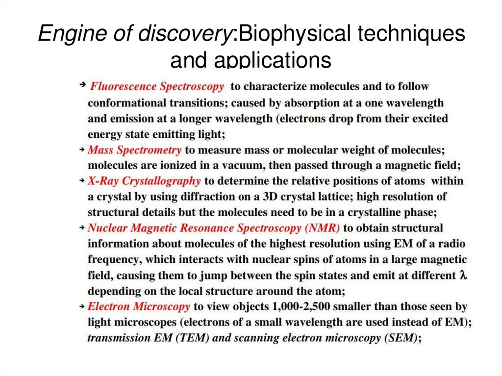 Engine of discovery:Biophysical techniques and applications