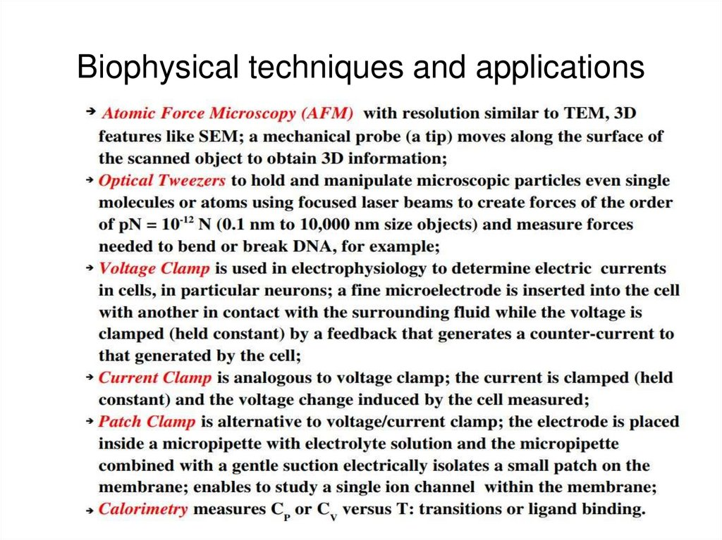 Biophysical techniques and applications