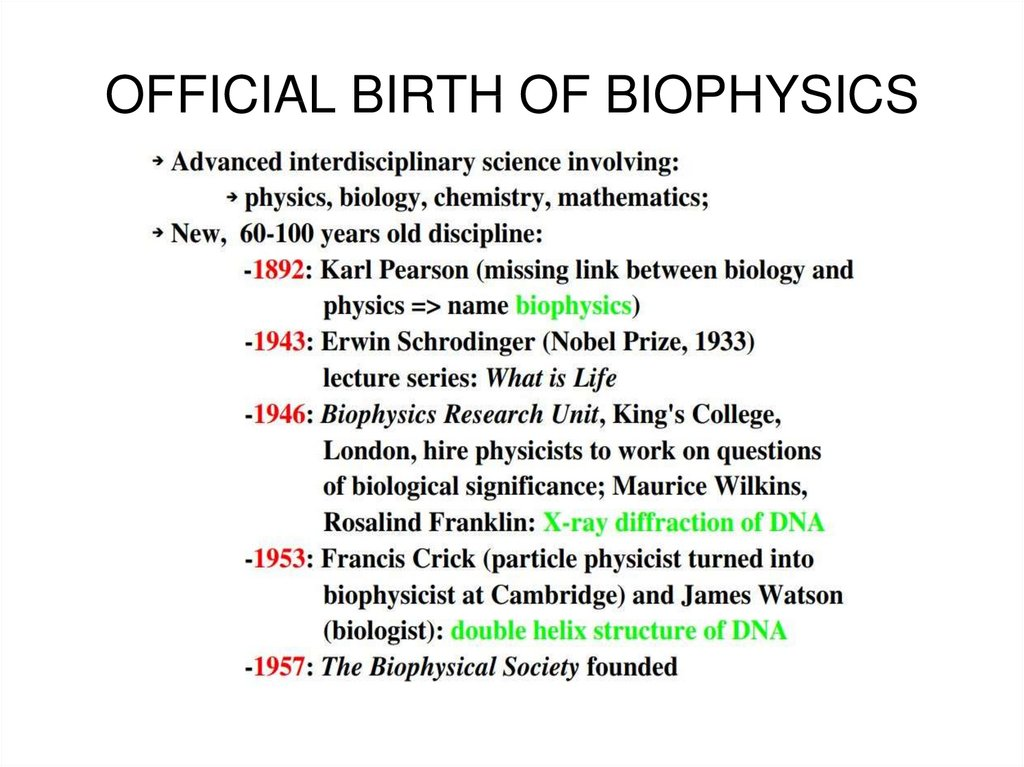 OFFICIAL BIRTH OF BIOPHYSICS