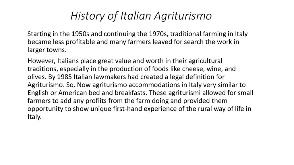 History of Italian Agriturismo