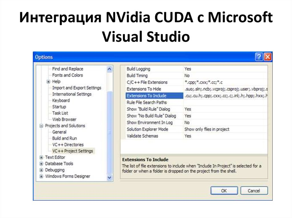 Интеграция NVidia CUDA с Microsoft Visual Studio