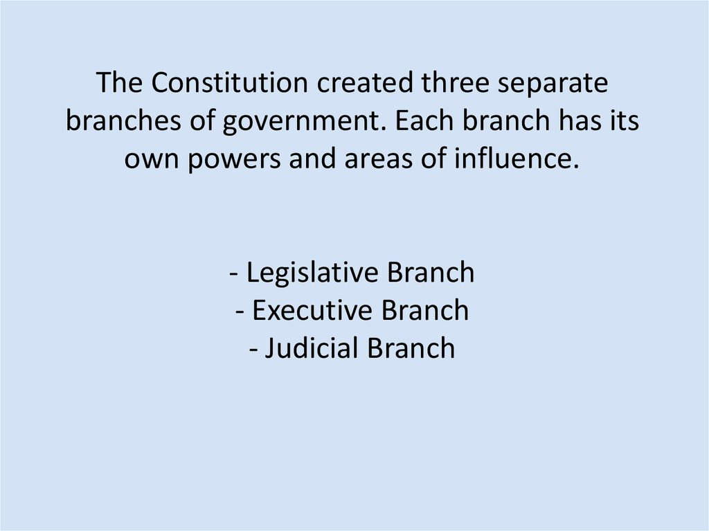 The Constitution created three separate branches of government. Each branch has its own powers and areas of influence. -