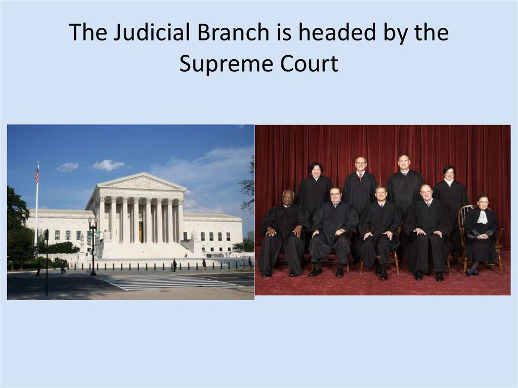 The Judicial Branch is headed by the Supreme Court