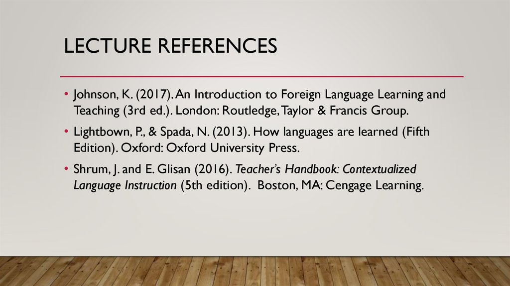 Lecture References