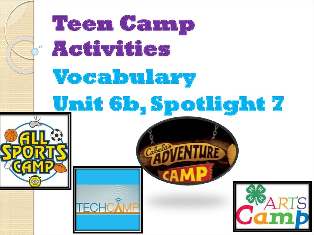 Vocabulary Teen Camp Activities 1