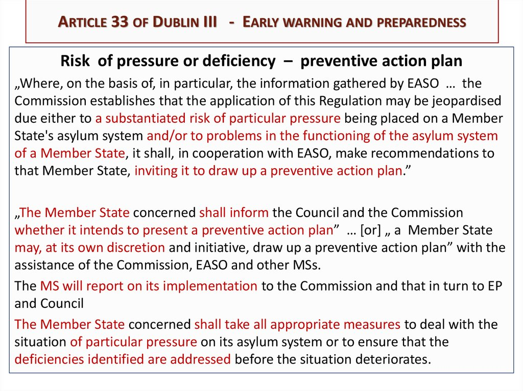 Article 33 of Dublin III - Early warning and preparedness