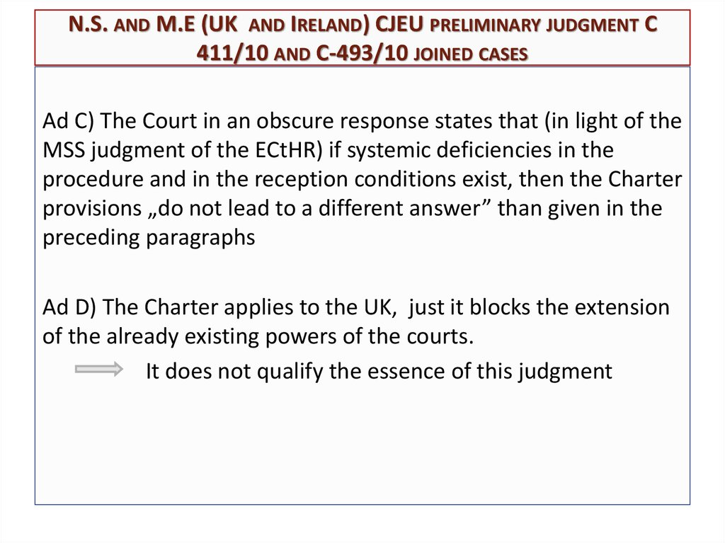 N.S. and M.E (UK and Ireland) CJEU preliminary judgment C 411/10 and C-493/10 joined cases