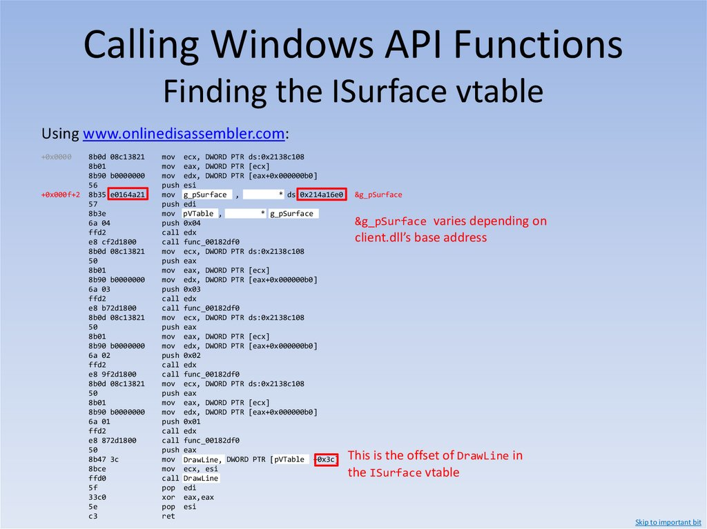 Calling Windows API Functions x86 Calling Conventions – thiscall