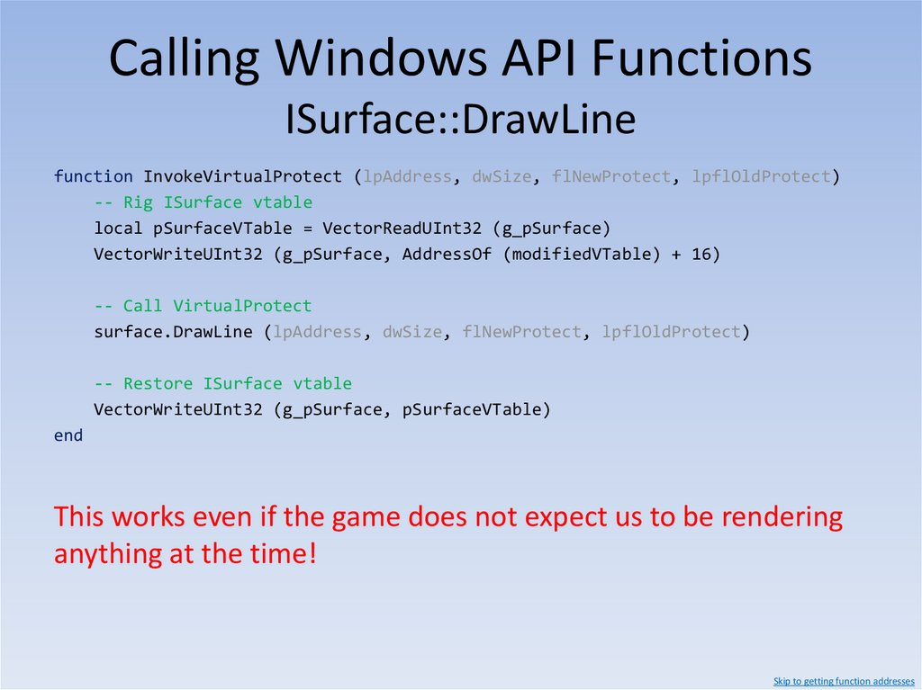 Calling Windows API Functions Finding the ISurface vtable