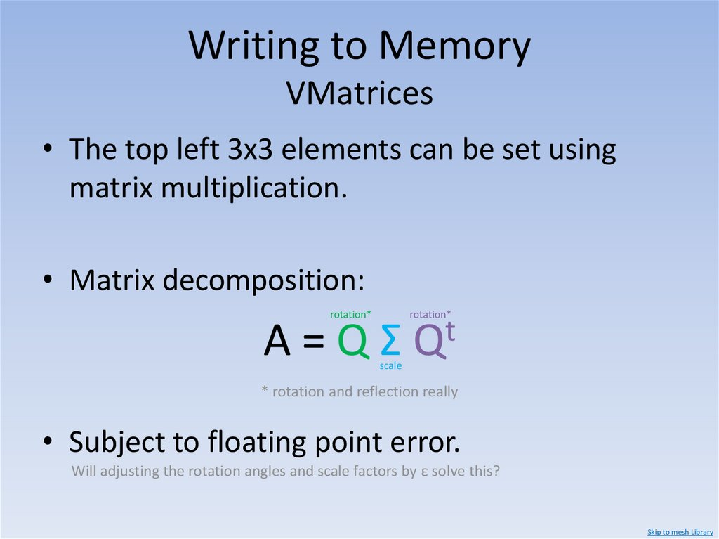 Writing to Memory Floats