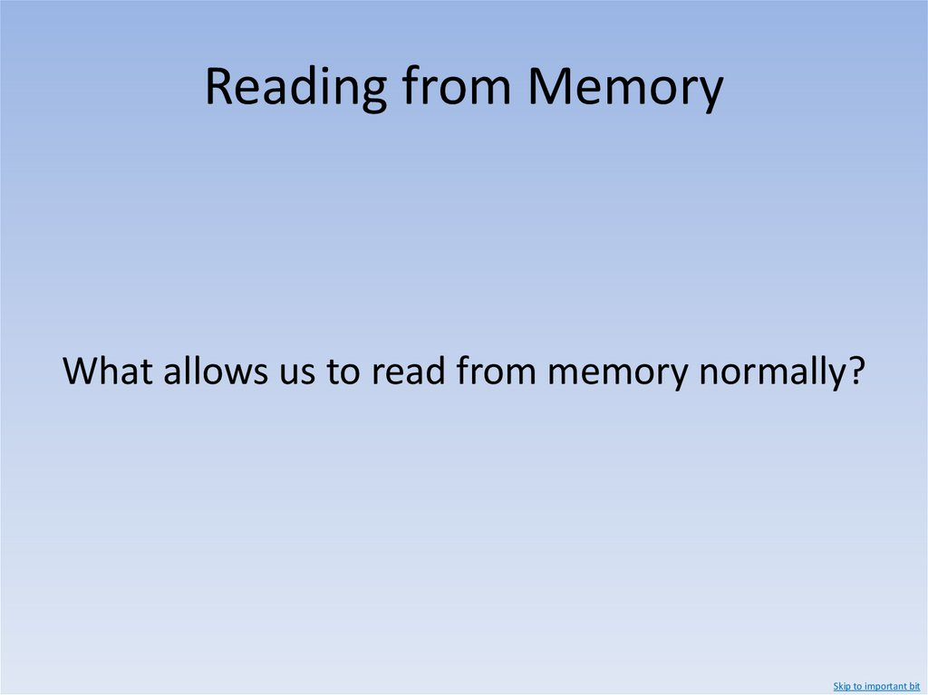 Writing to Memory The mesh Library