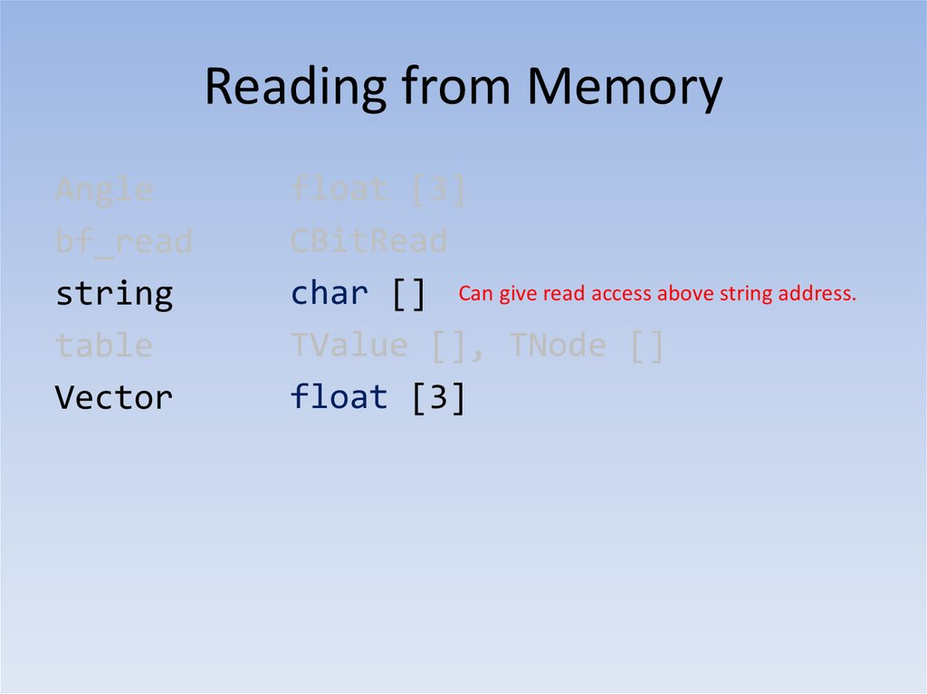 Reading from Memory Lua Objects