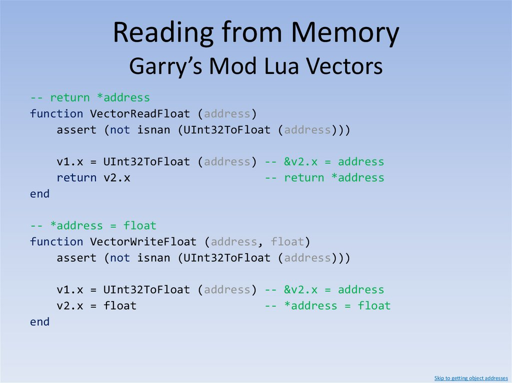 Reading from Memory Lua Strings