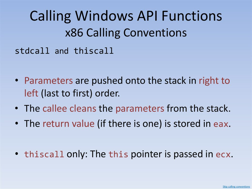 Calling Windows API Functions