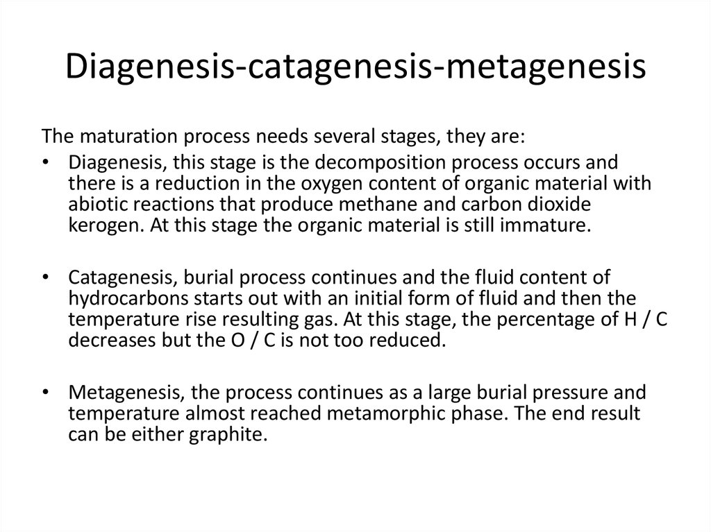Diagenesis-catagenesis-metagenesis