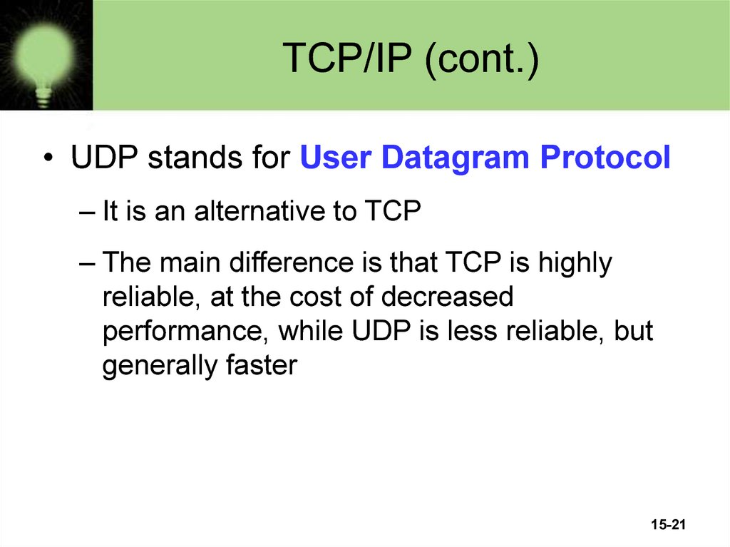 TCP/IP (cont.)