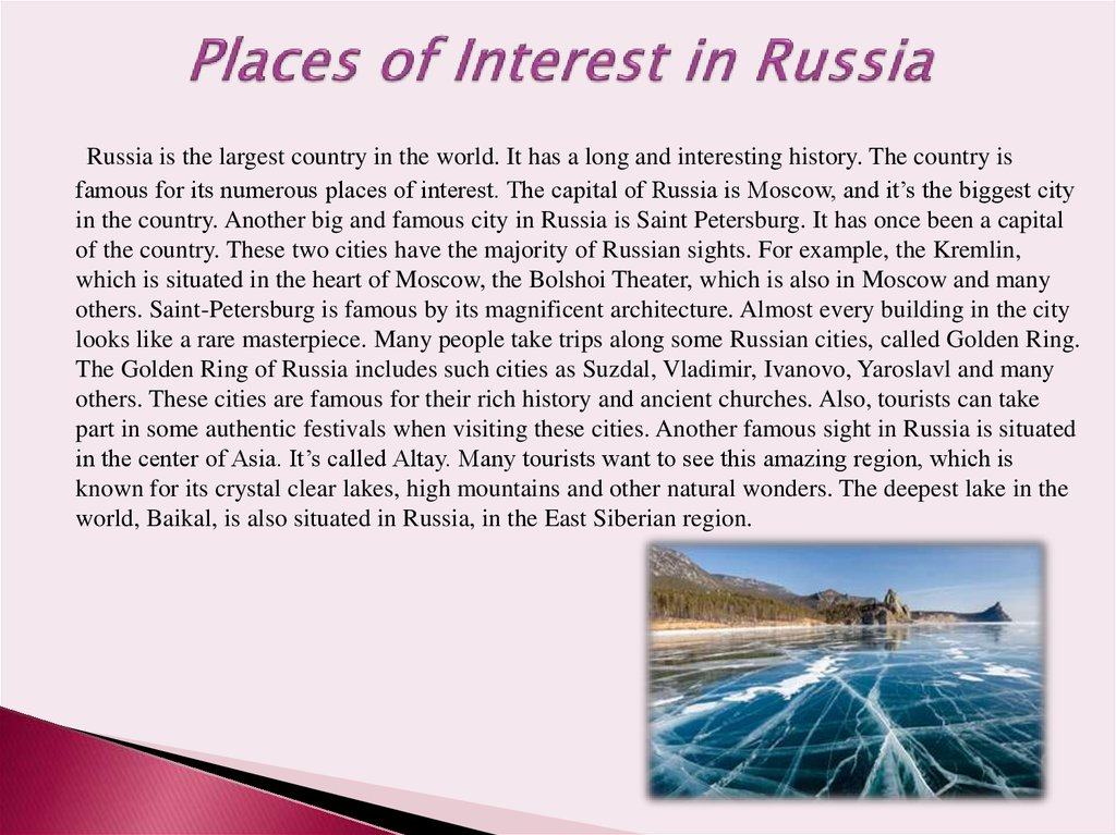 Places of Interest in Russia