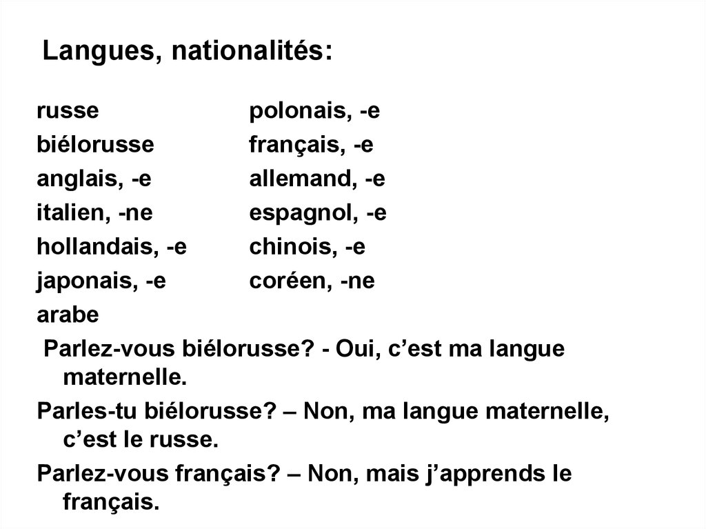 Langues, nationalités: