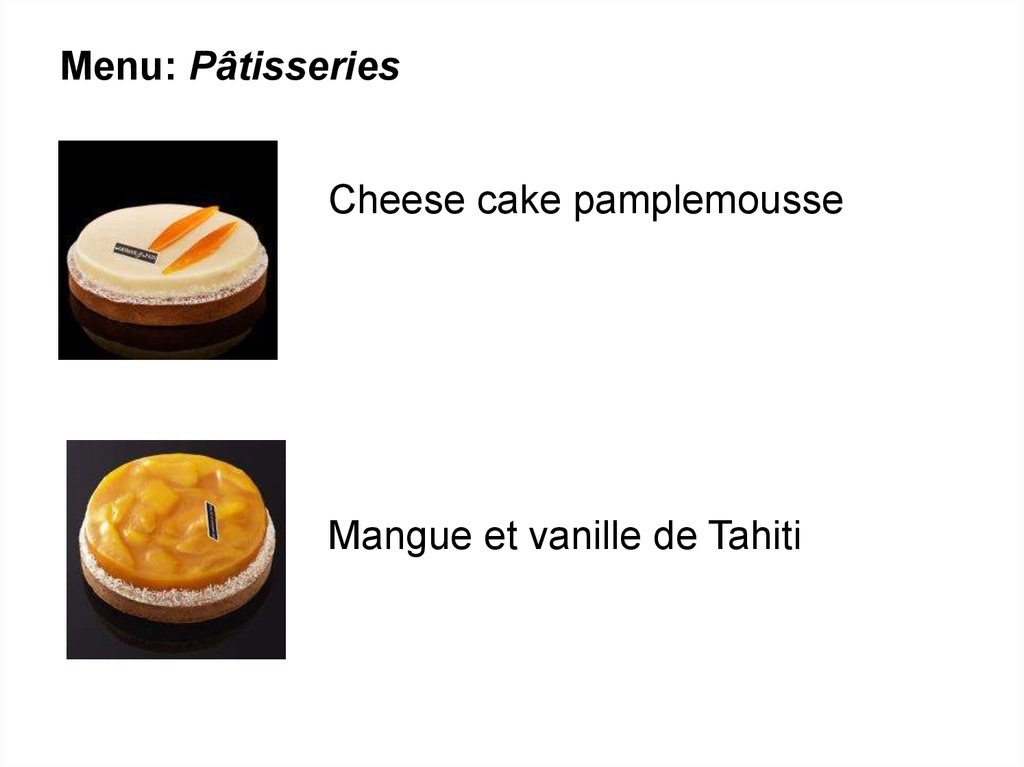 Menu: Pâtisseries
