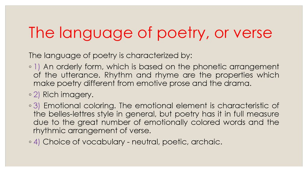 The language of poetry, or verse