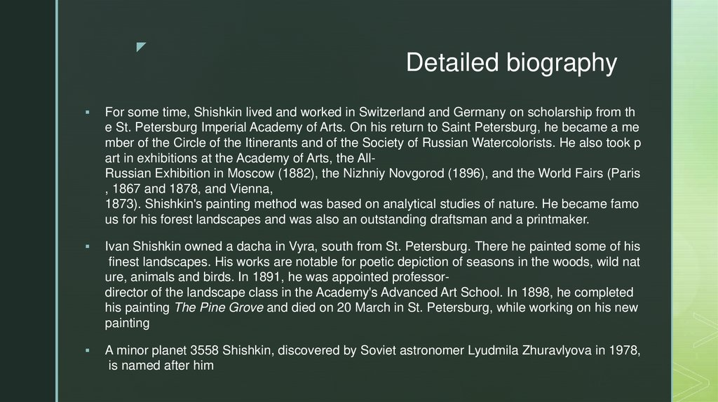 Detailed biography
