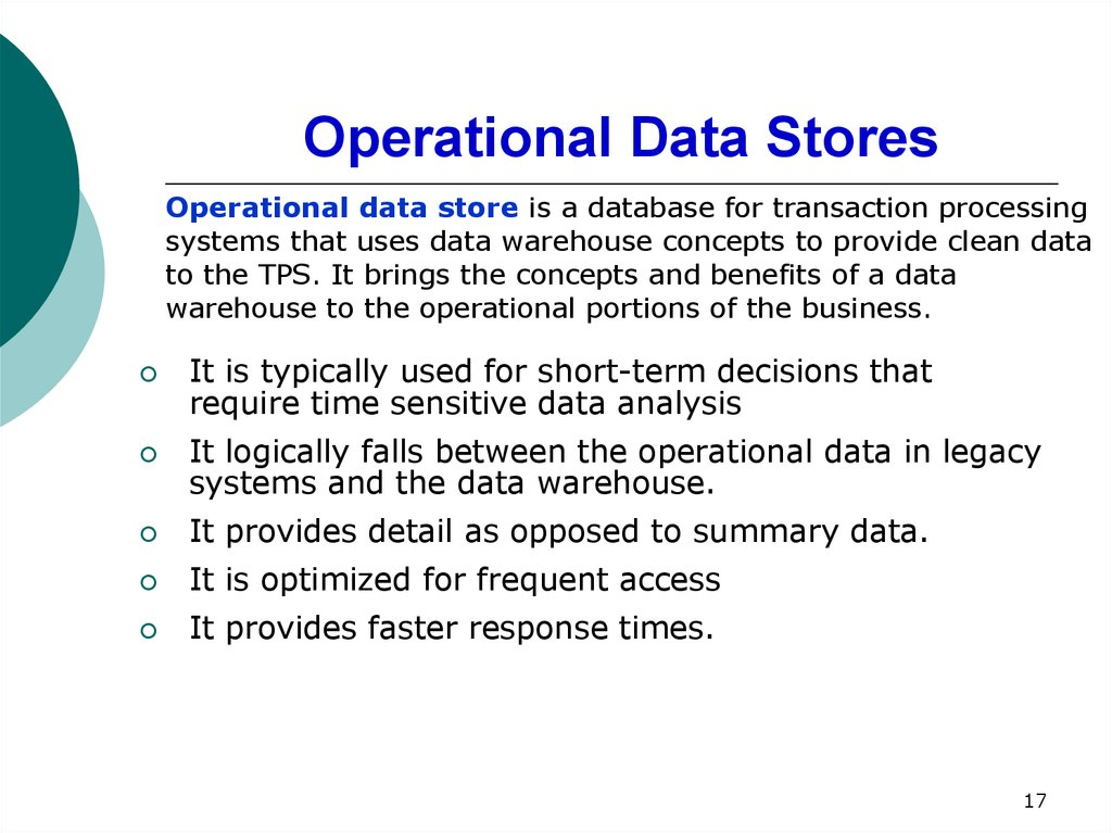 Operational Data Stores