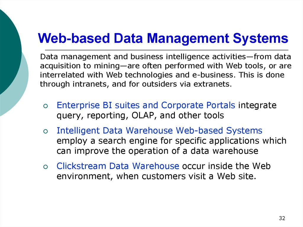 Web-based Data Management Systems