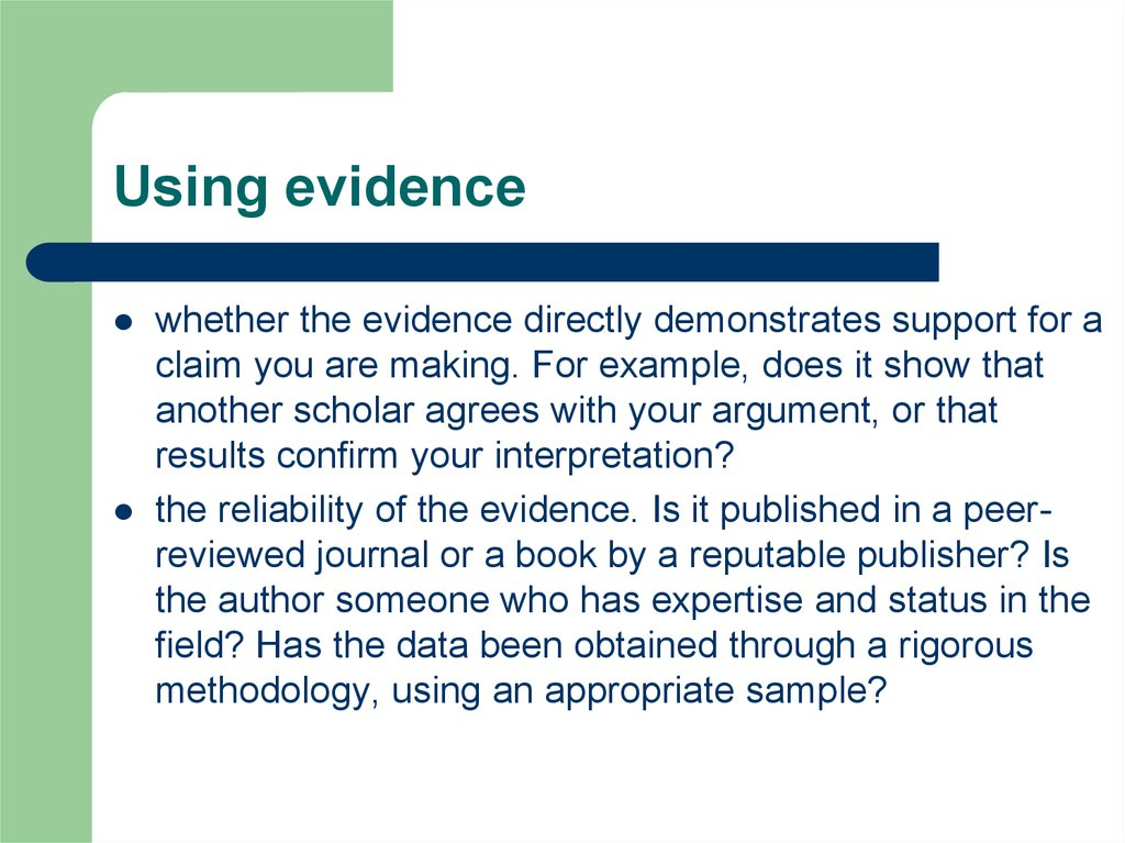Using evidence