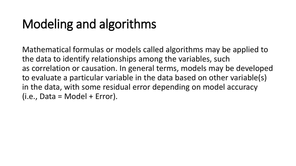 Modeling and algorithms