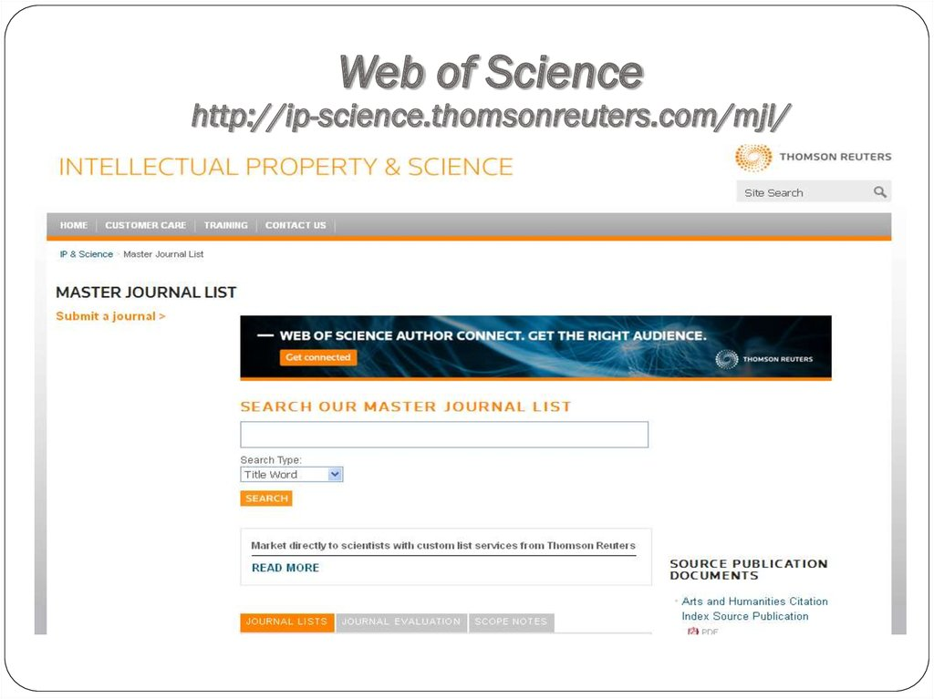 Web of Science http://ip-science.thomsonreuters.com/mjl/