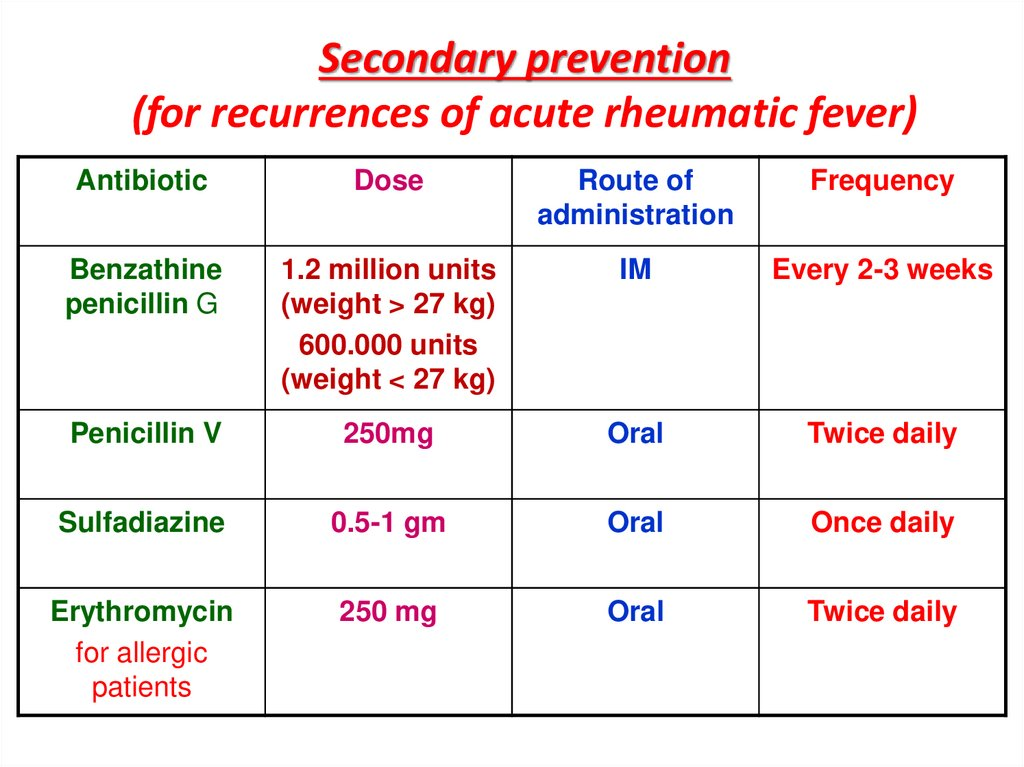 Secondary prevention (for recurrences of acute rheumatic fever)