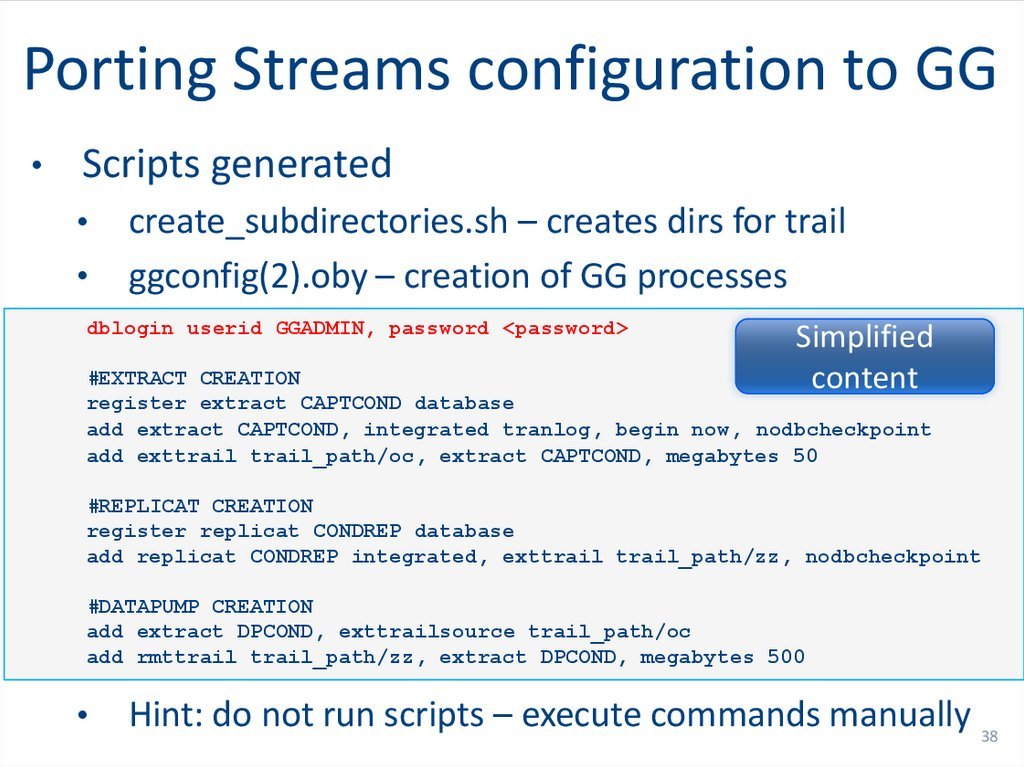 Porting Streams configuration to GG