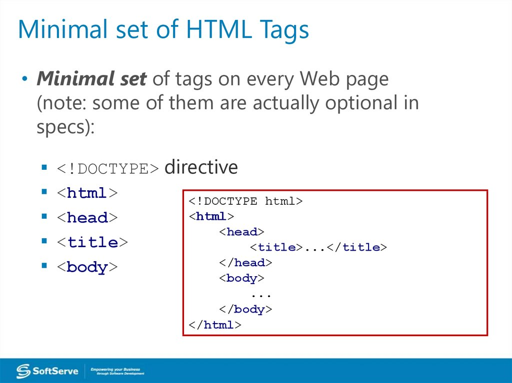 Minimal set of HTML Tags