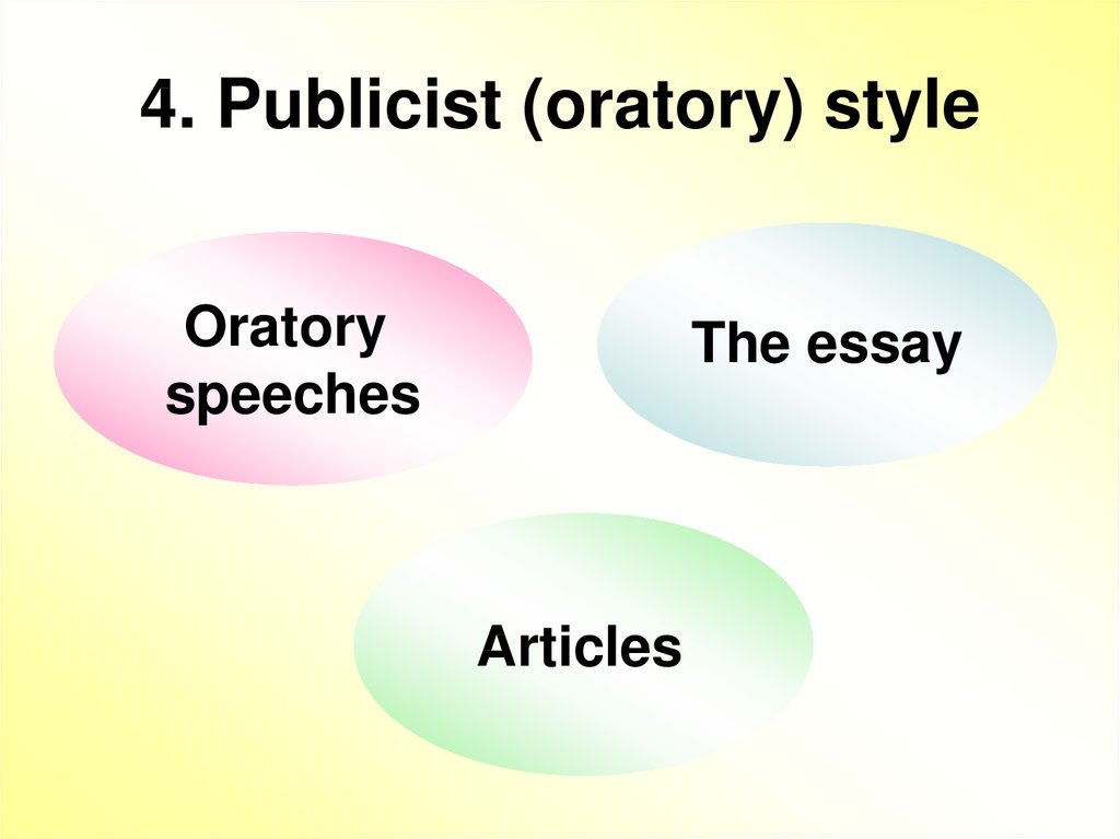 4. Publicist (oratory) style