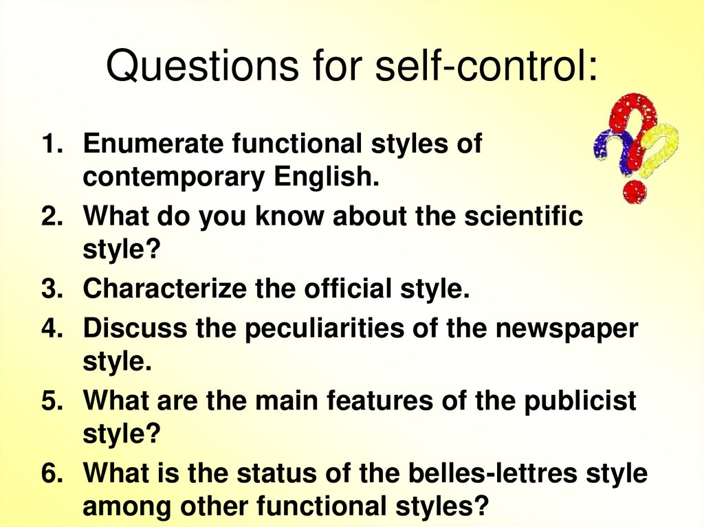 Questions for self-control: