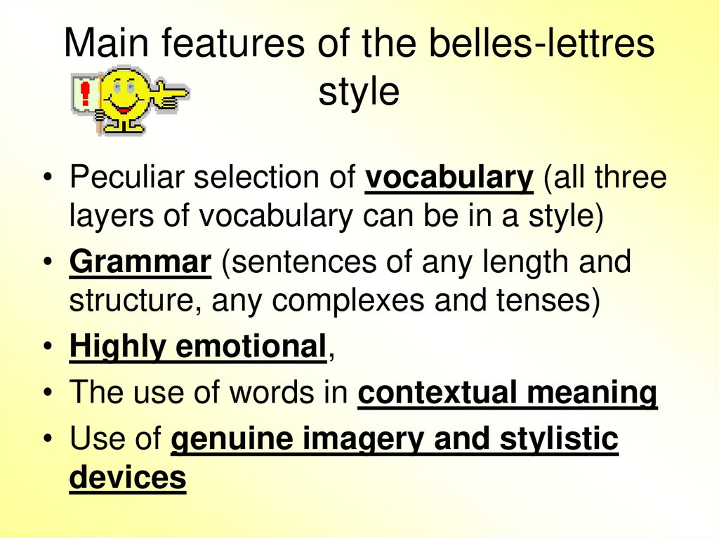 Main features of the belles-lettres style