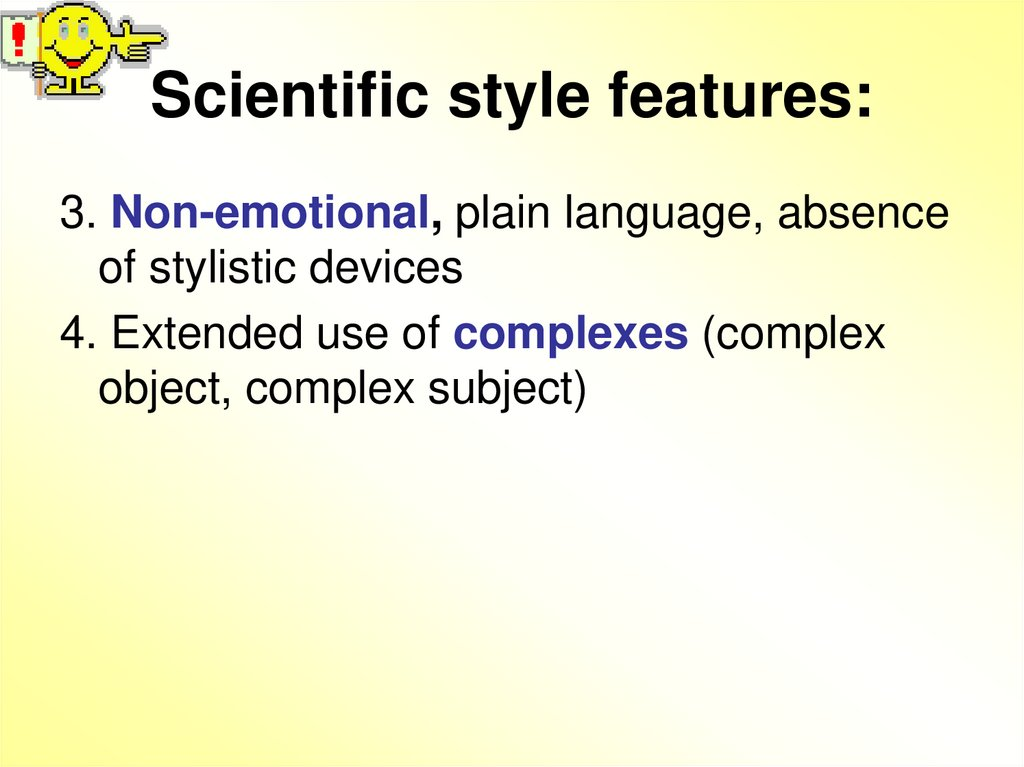 Scientific style features: