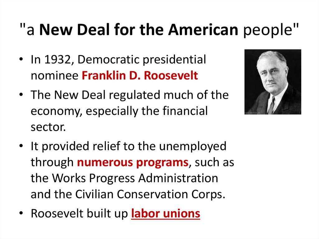 """a New Deal for the American people"""