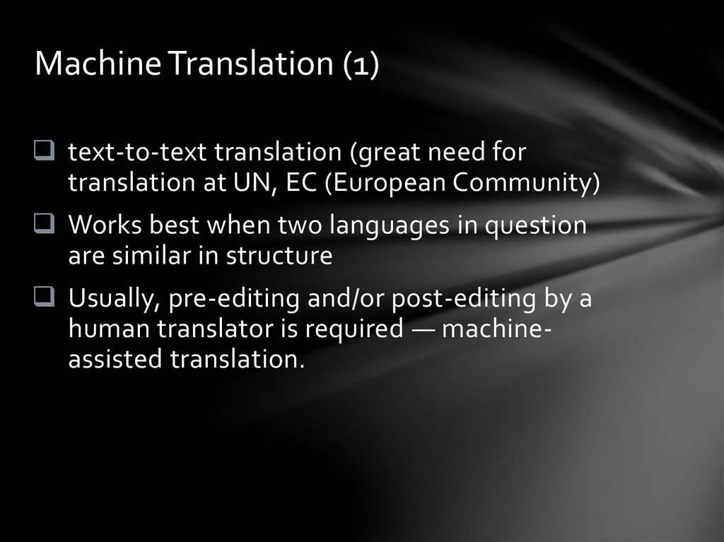 Machine Translation (1)