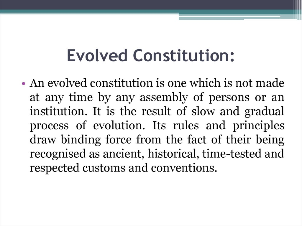 Evolved Constitution: