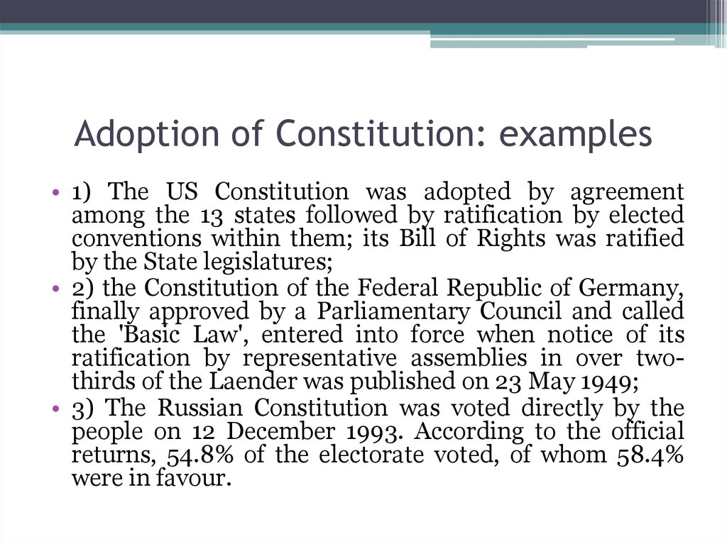 Adoption of Constitution: examples