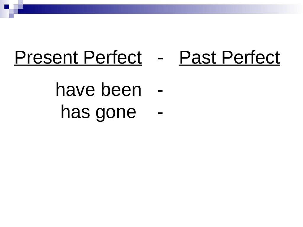 Present Perfect - Past Perfect have been - has gone -