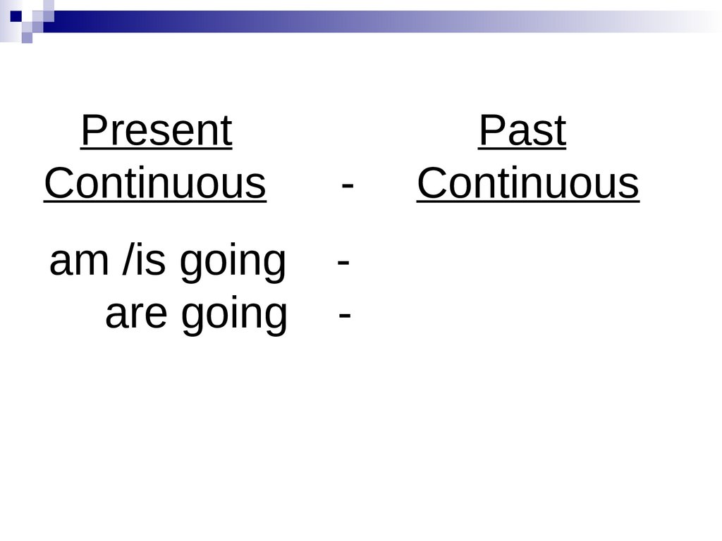 Present Past Continuous - Continuous am /is going - are going -