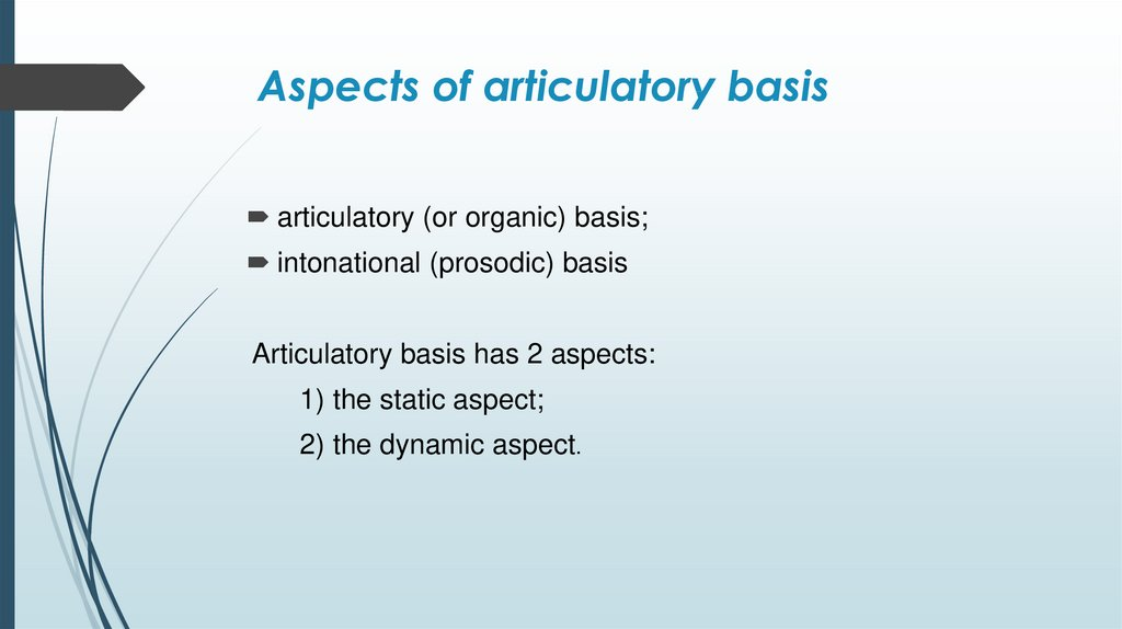 Aspects of articulatory basis